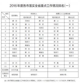 2016年度河北省31项重点工作落实情况排名